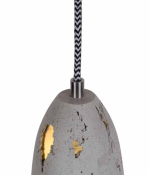 Hanging hand-cast concrete lamp shade