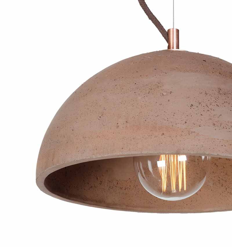Sphere concrete light in chocolate with lightbulb