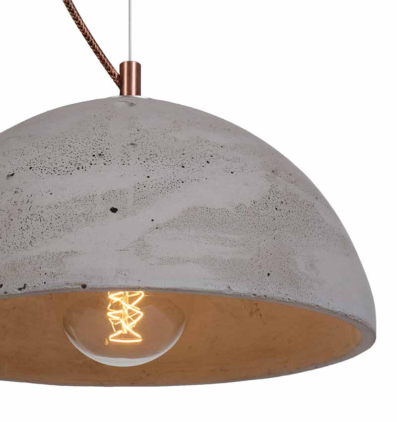 Natural Sphere Shaped Concrete Light With Illuminated Lightbulb