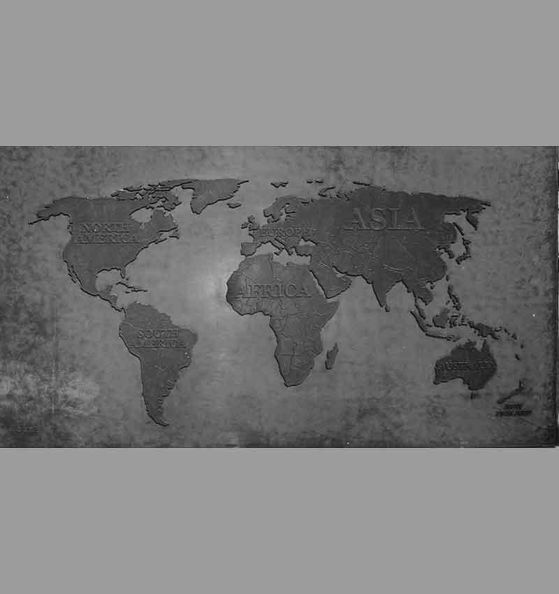 3D concrete world map in dark concrete