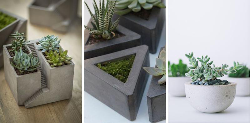 Concrete micro planters